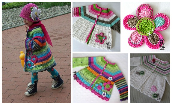 Girls Crochet Flower Cardigan – Free Pattern