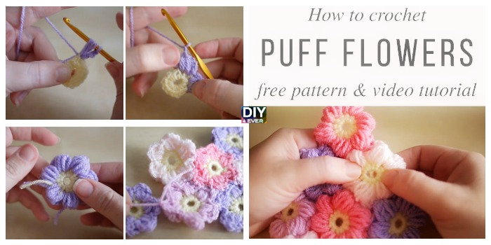 Crochet Puff Flowers – Free Pattern & Video