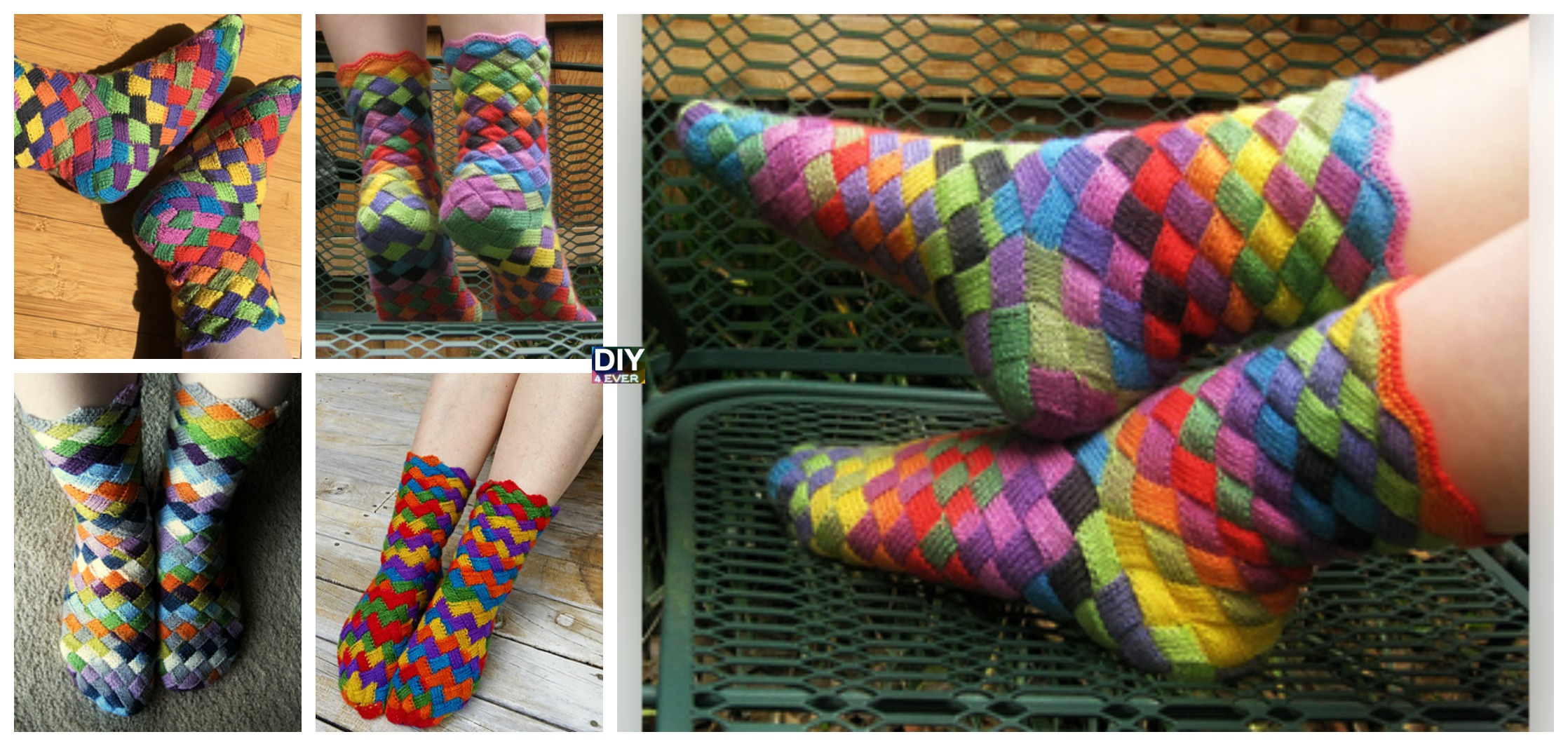Rainbow Patch Socks Knitted Free Pattern