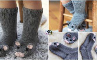 Super Cute Knit Mice Socks - Free Pattern