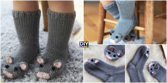 Super Cute Knit Mice Socks – Free Pattern