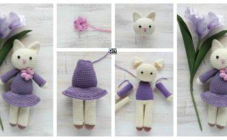 diy4ever-Crochet Amigurumi Kitty In Lilac Dress - Free Pattern