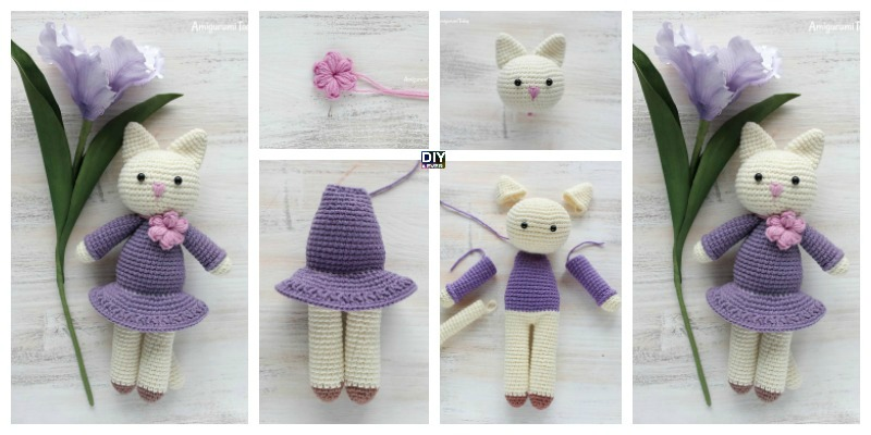 Crochet Amigurumi Kitty in Lilac Dress – Free Pattern