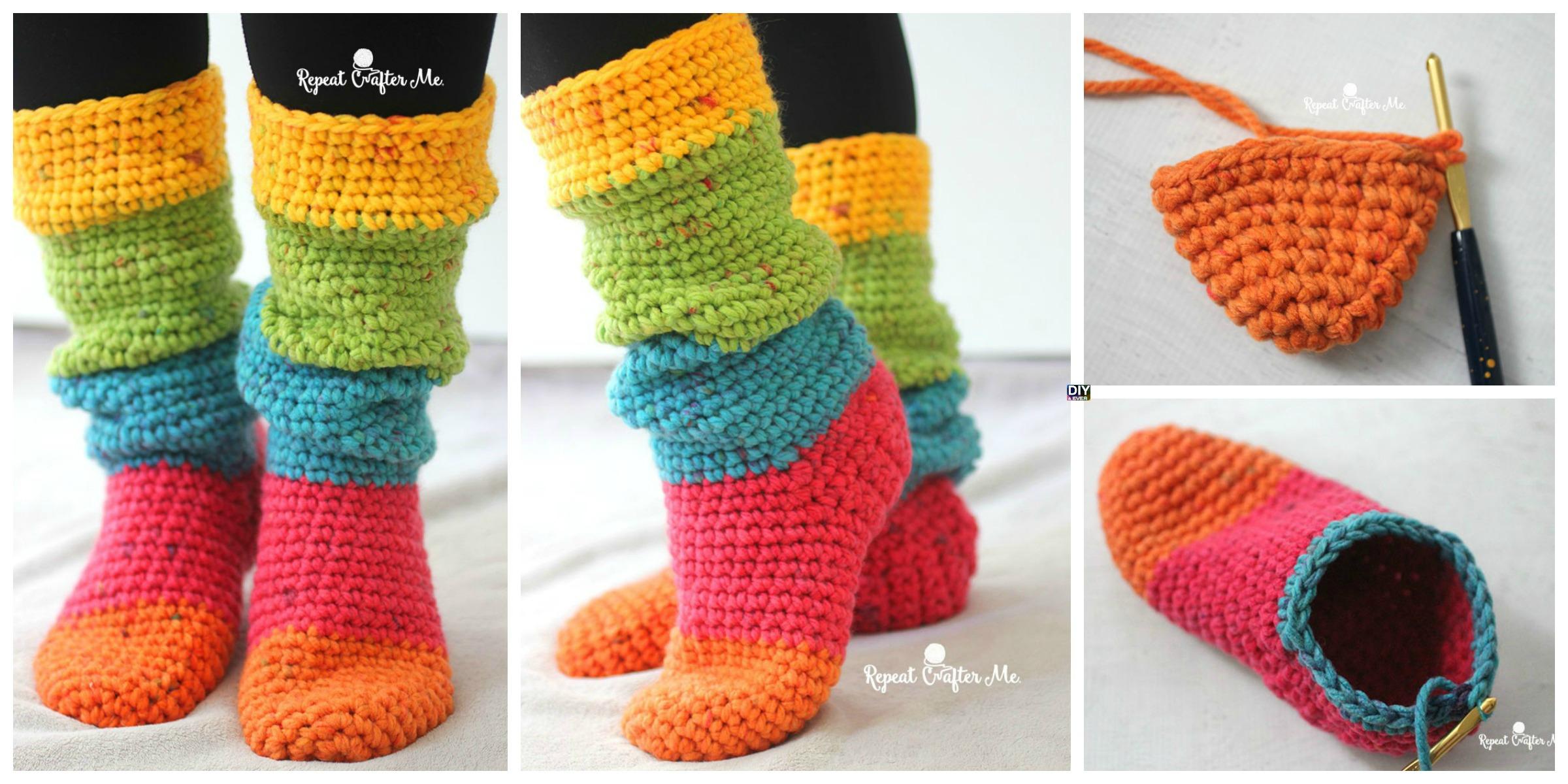 Crochet Chunky Cake Slipper Socks – Free Pattern