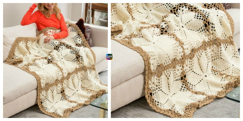 Crochet Lacy Floral Throw – Free Pattern