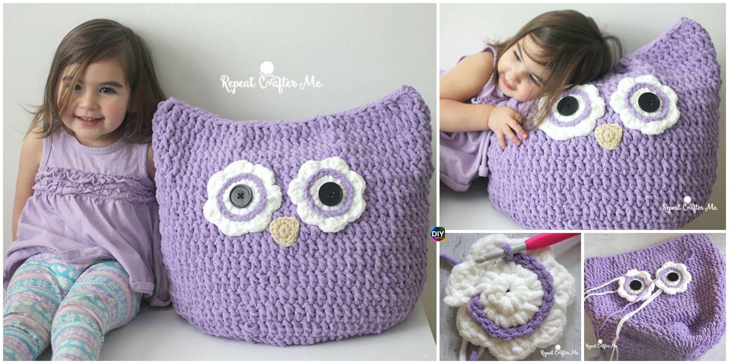 Crochet Oversized Owl Pillow – Free Pattern