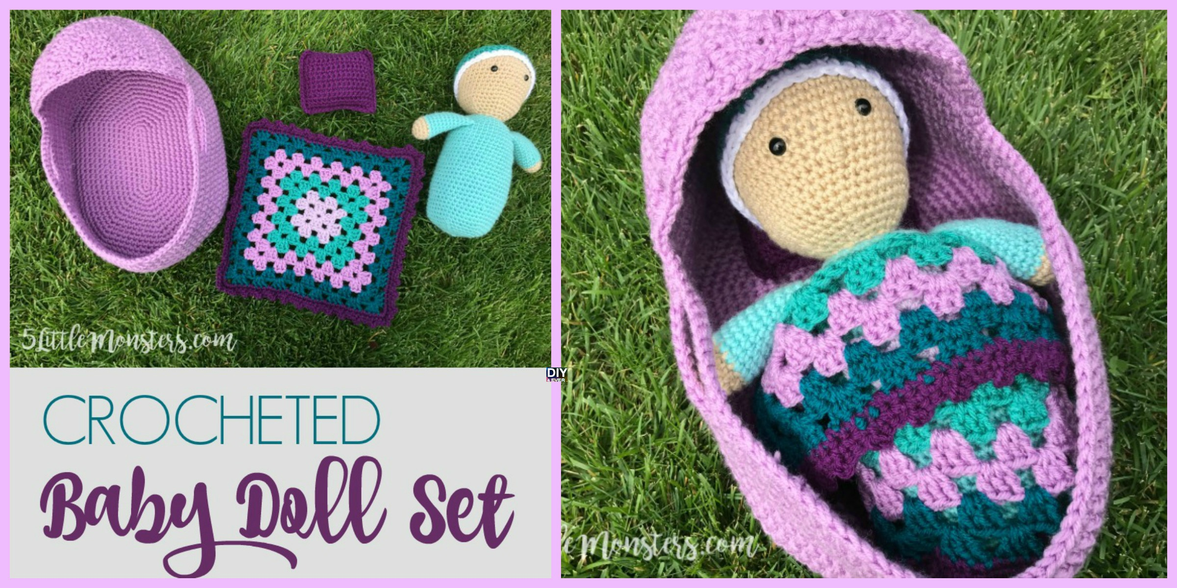 Crocheted Baby Doll Set – Free Pattern & Video
