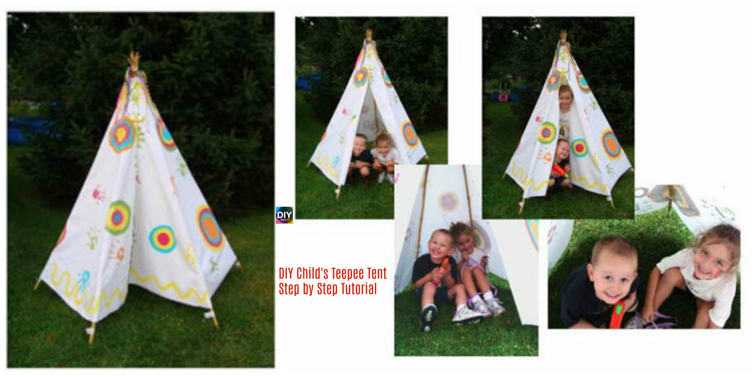 DIY Child's Teepee Tent Step by Step Tutorial