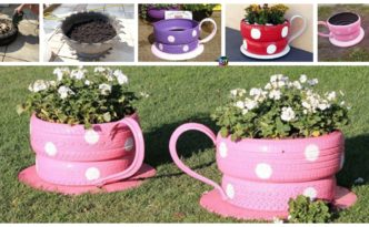 diy4ever- DIY Teacup Tire Planters Tutorial