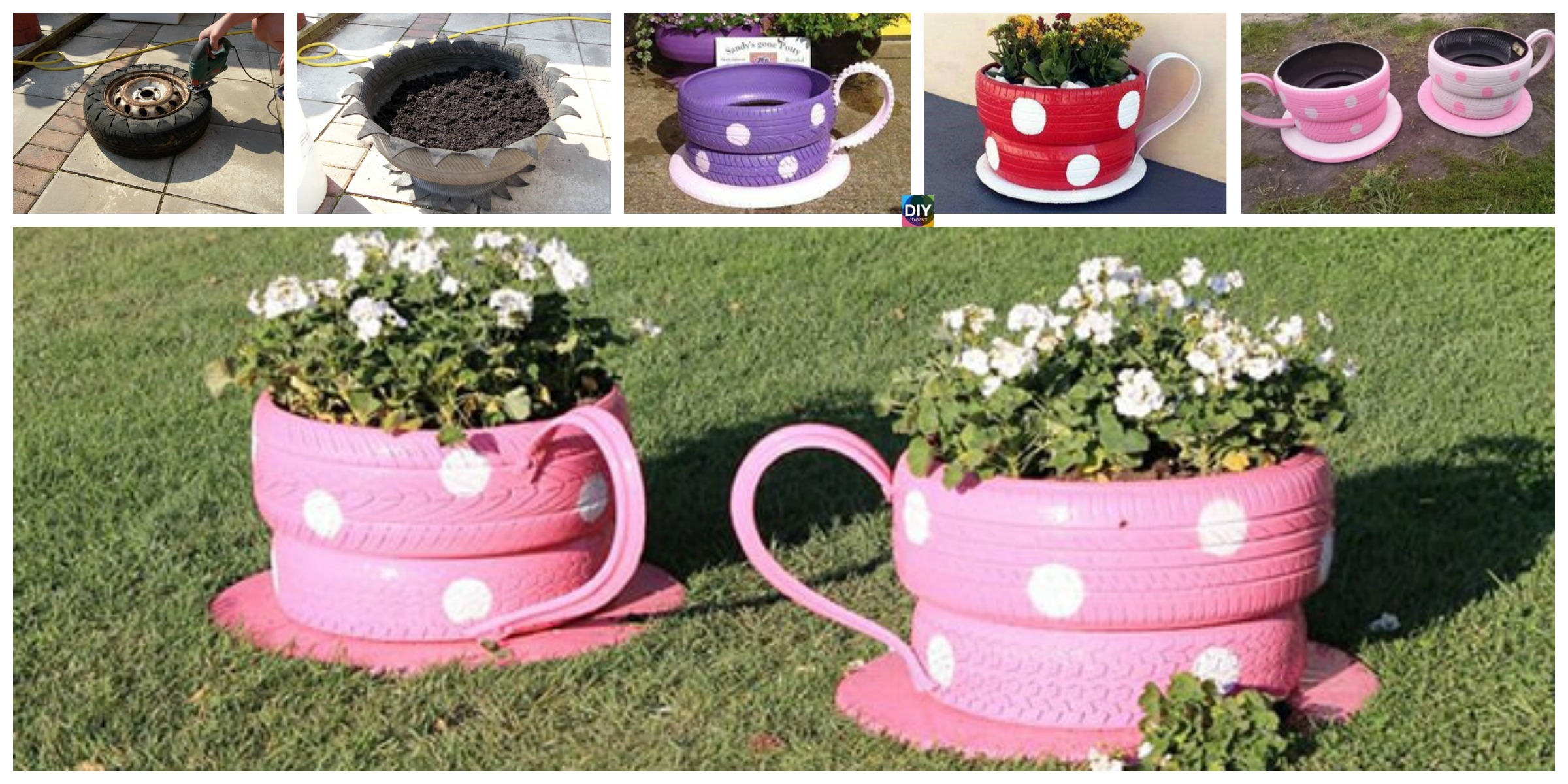 DIY Teacup Tire Planters Step by Step Tutorial