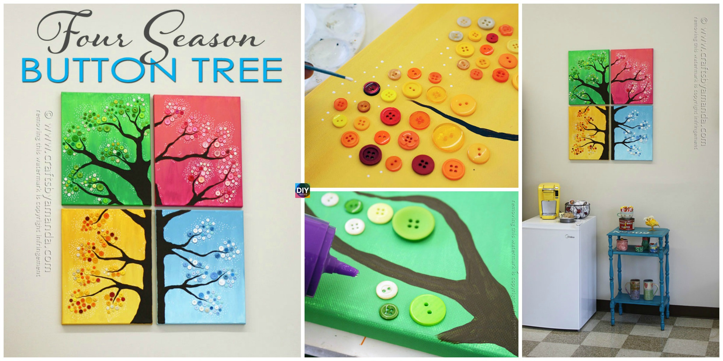 4 Seasons Button Tree Wall Art DIY Tutorial