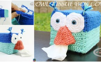 DIY4EVER-Crochet Owl Tissue Box Cover – Free Pattern