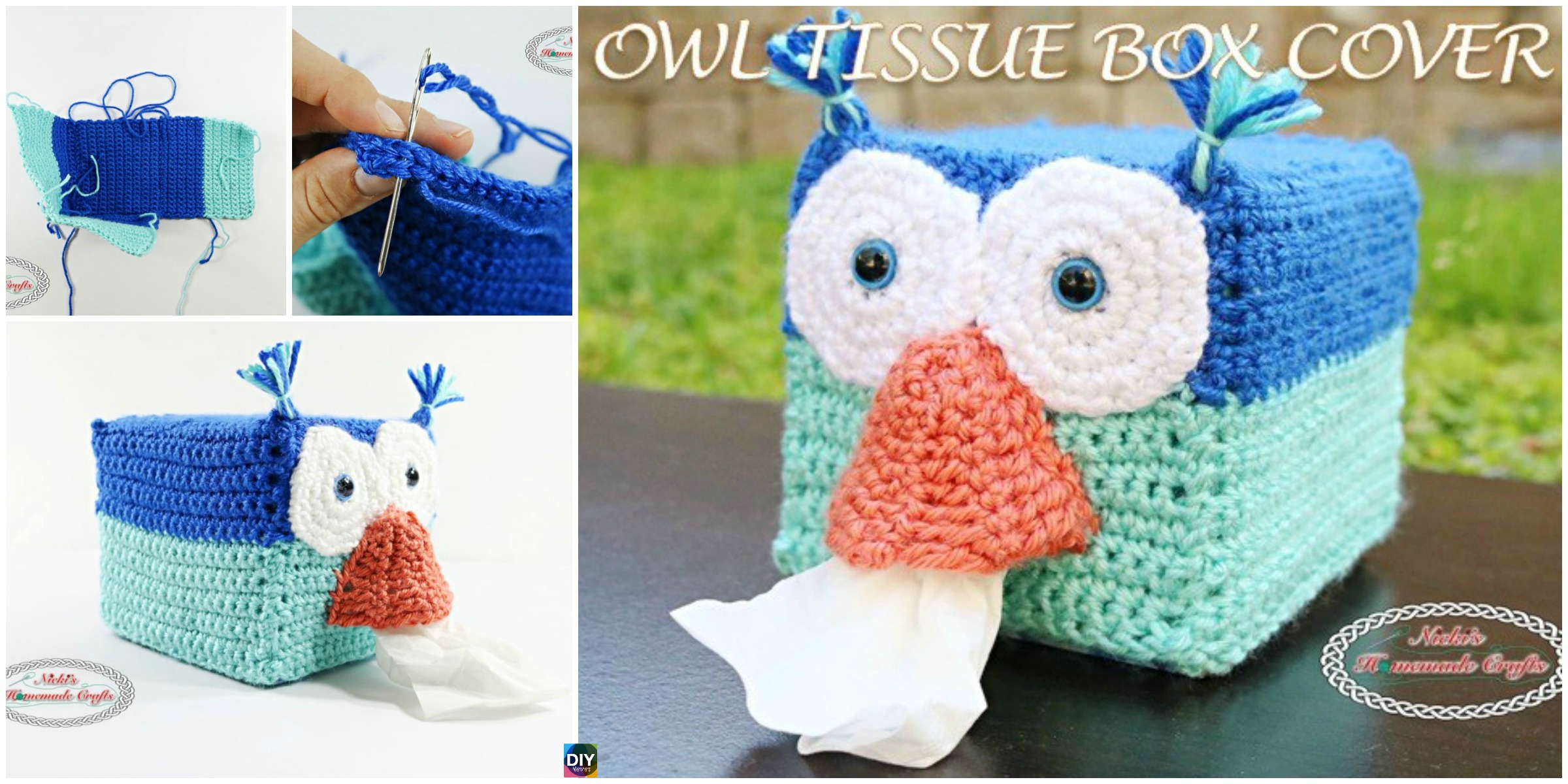 Crochet Owl Tissue Box Cover – Free Pattern