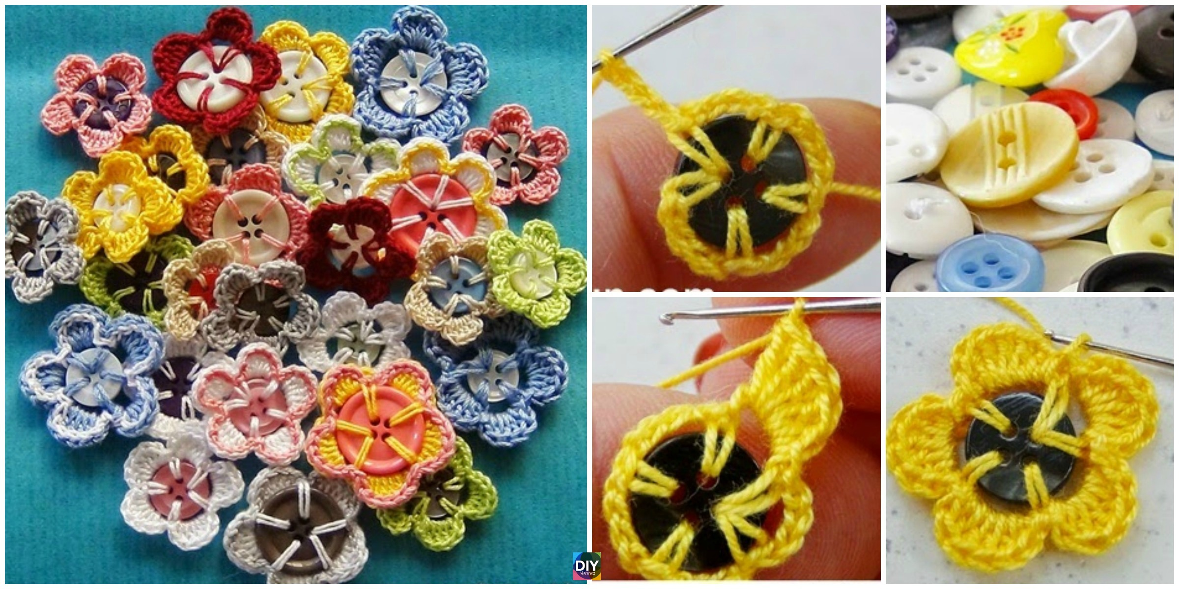 Crochet Button Flowers – Free Pattern & Video