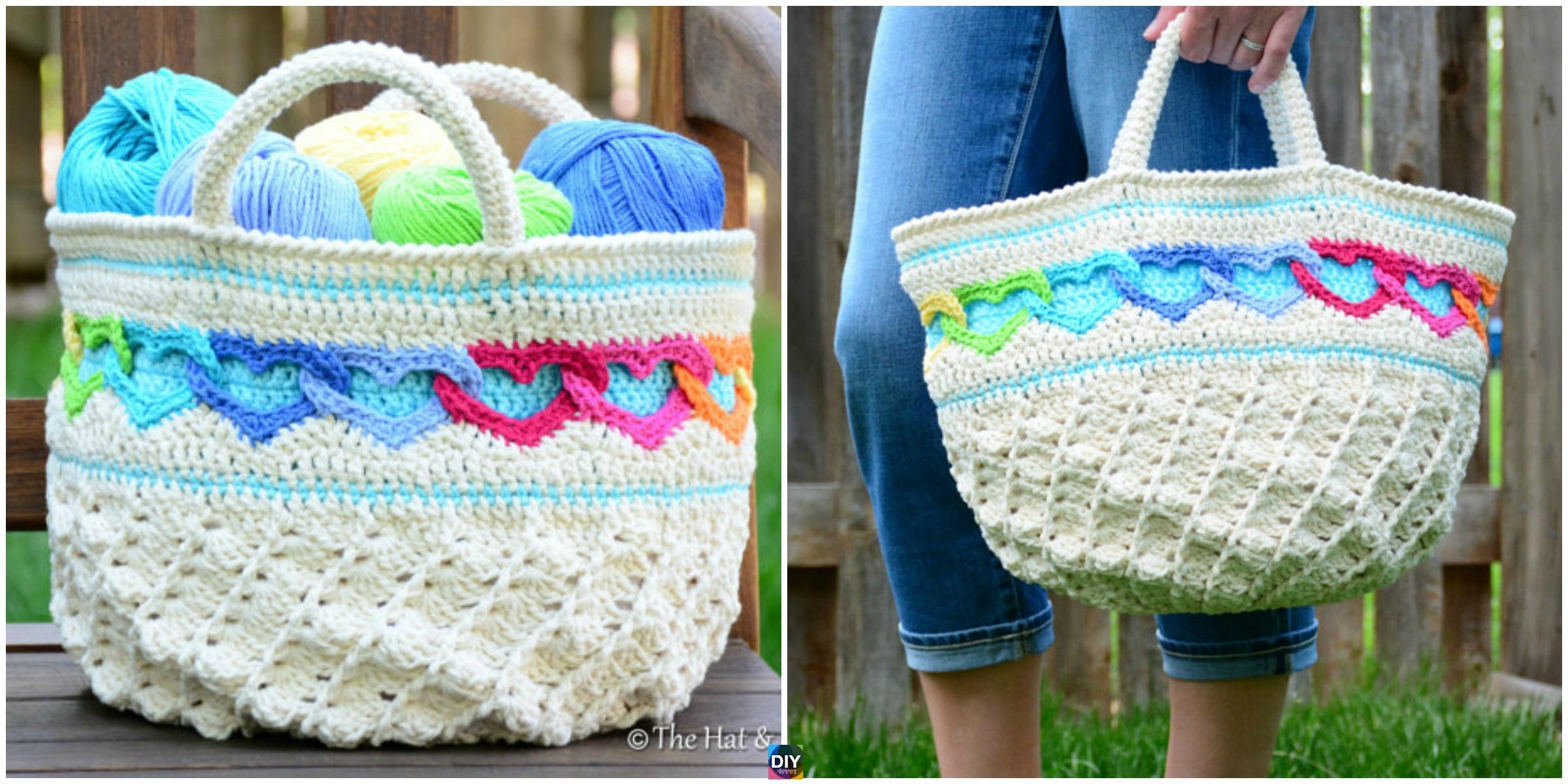 Amazing Crochet Heart Tote Bag Pattern