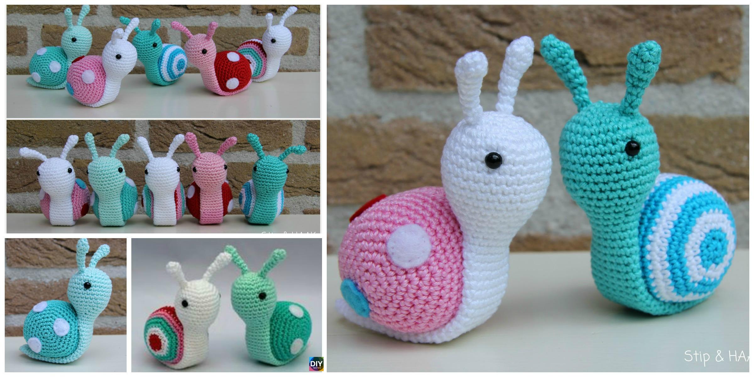 Fun Snail Amigurumi Free Crochet Patterns | 1200x2400