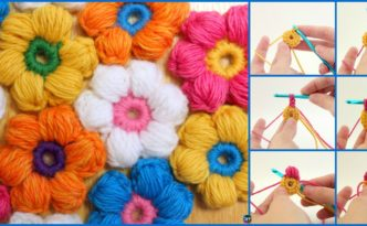 diy4ever- 6 Petal Crochet Puff Stitch Flowers - Free Pattern