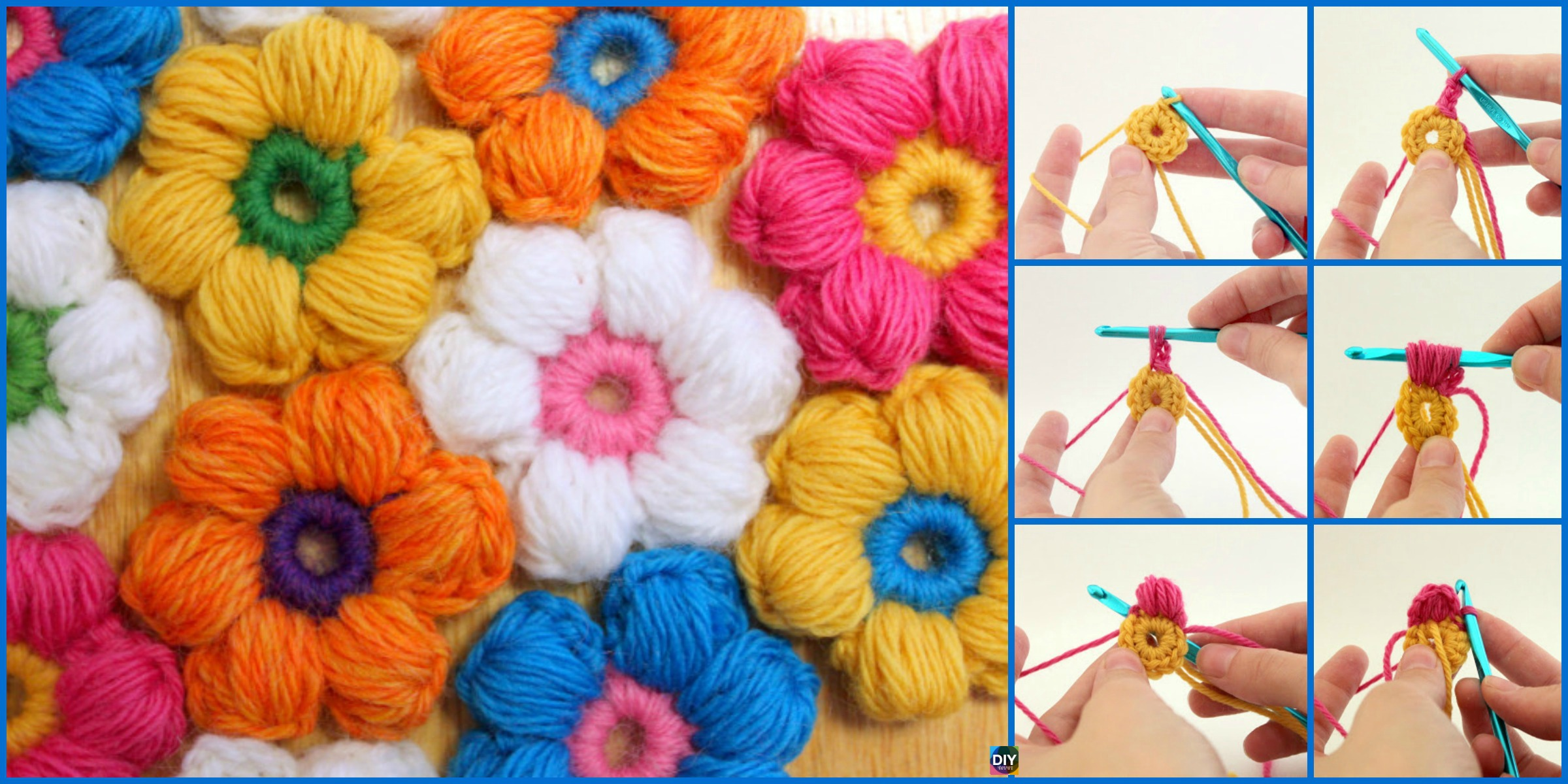 6 Petal Crochet Puff Stitch Flowers – Free Pattern