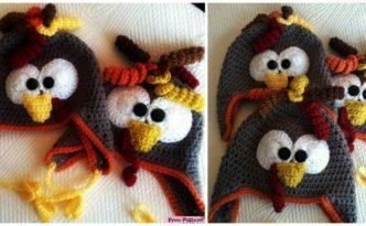 diy4ever- Adorable Crochet Turkey Earflap Hat - Free Pattern