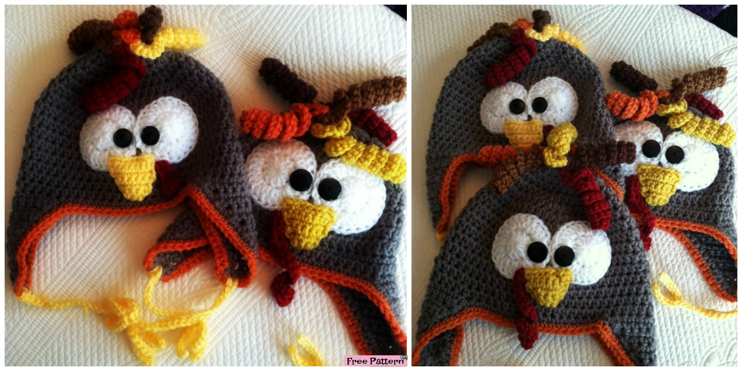 Adorable Crochet Turkey Earflap Hat – Free Pattern