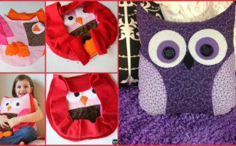 diy4ever- Adorable DIY Owl Pillow - Step by Step Tutorial