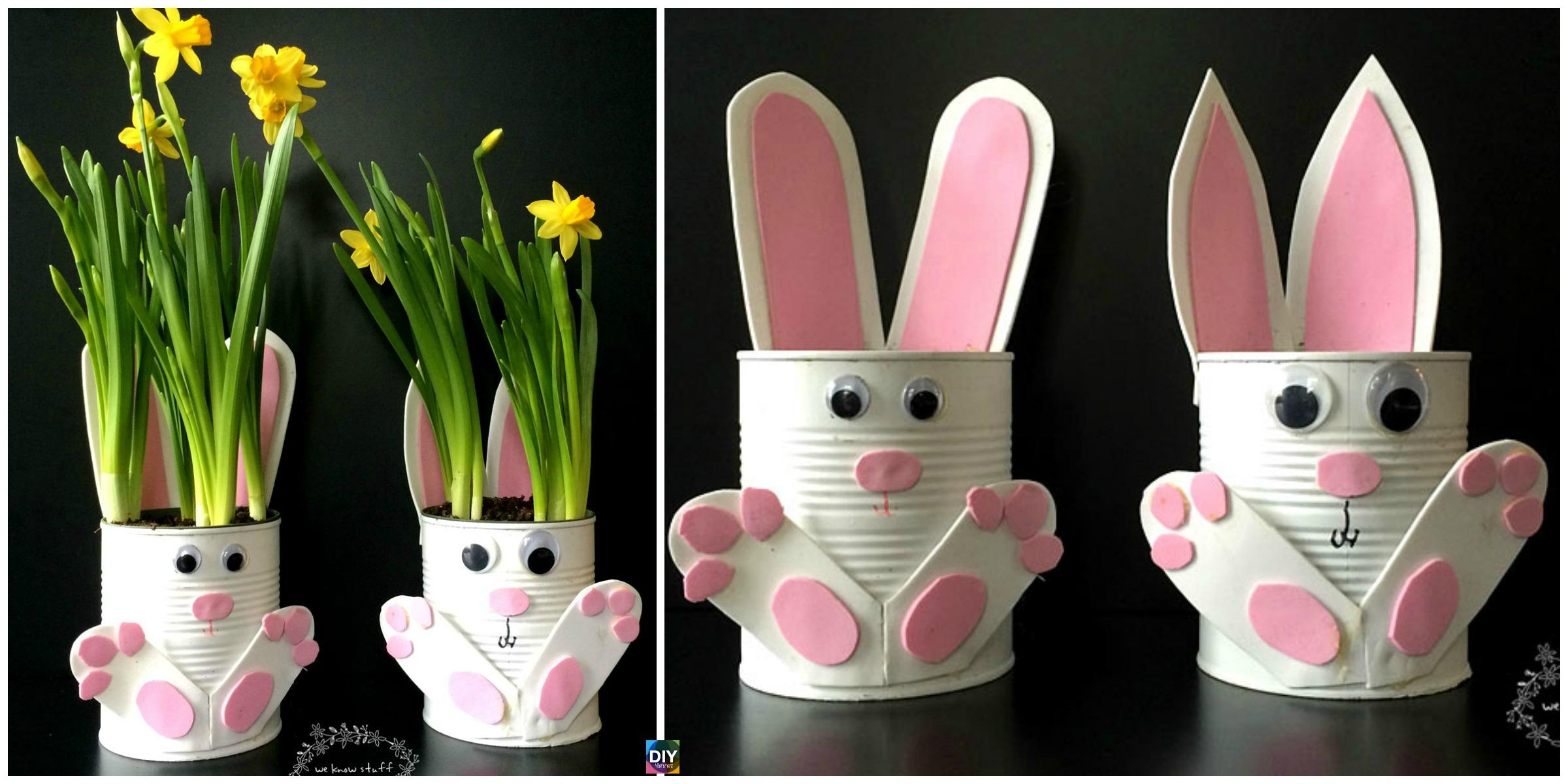 Adorable DIY Tin Can Bunny Planters