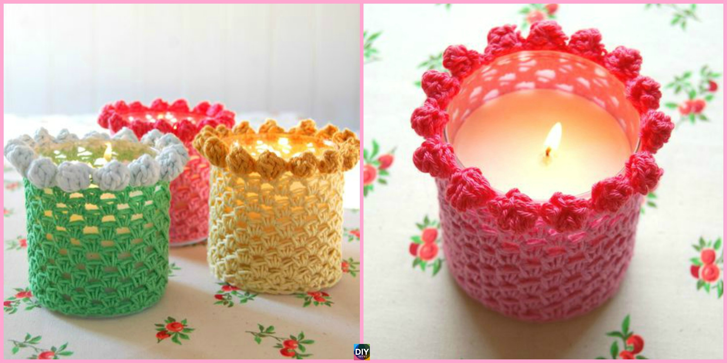 Bobbled Crochet Candle Holder Cover Free Pattern Diy 4 Ever