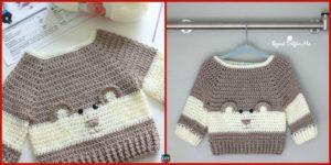 diy4ever-Crochet Baby Bear Sweater - Free Pattern