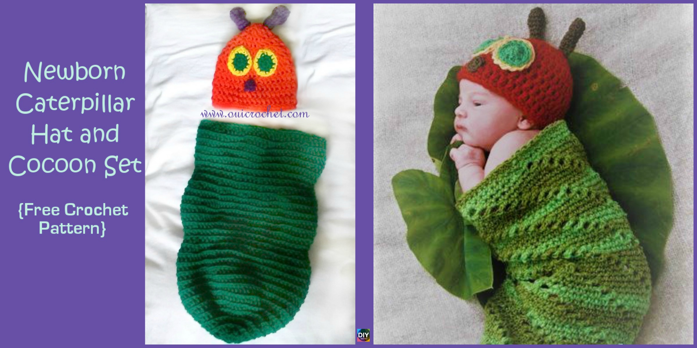 Crochet Caterpillar Hat Cocoon Set – Free Pattern
