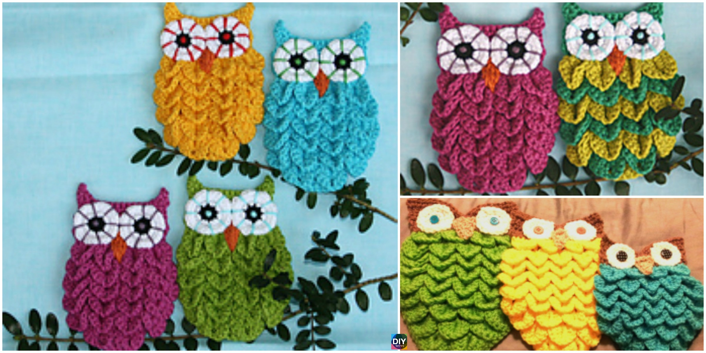 Crochet Crocodile Stitch Owls  – Free & Paid Pattern &Video