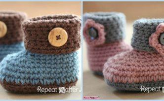 diy4ever-Crochet Cuffed Baby Booties - Free Pattern