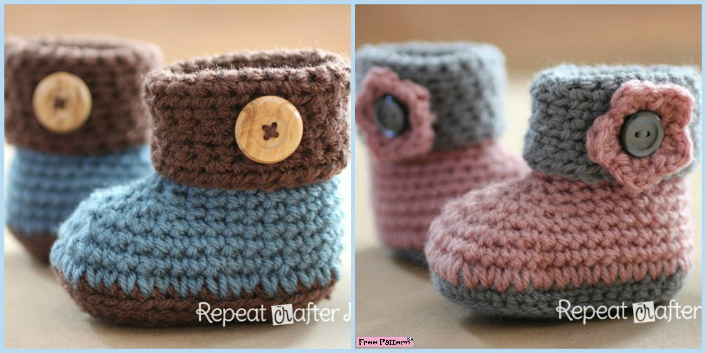 Crochet Cuffed Baby Booties – Free Pattern