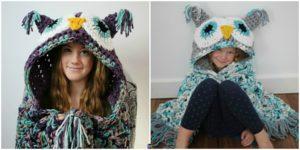 diy4ever- Crochet Hooded Owl Blanket Pattern