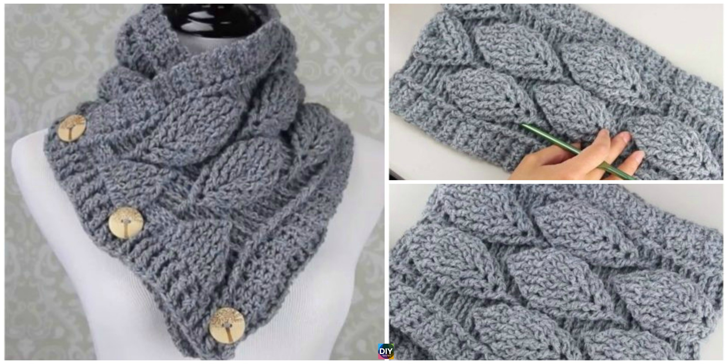 Crochet Leaf Stitch Cowl – Free Pattern