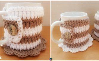 diy4ever-Crochet Mug Cozy Coaster - Free Pattern