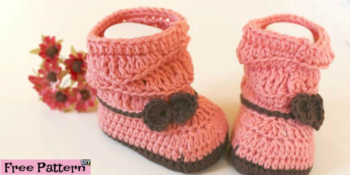 Crochet Peach Baby Booties – Free Pattern & Video