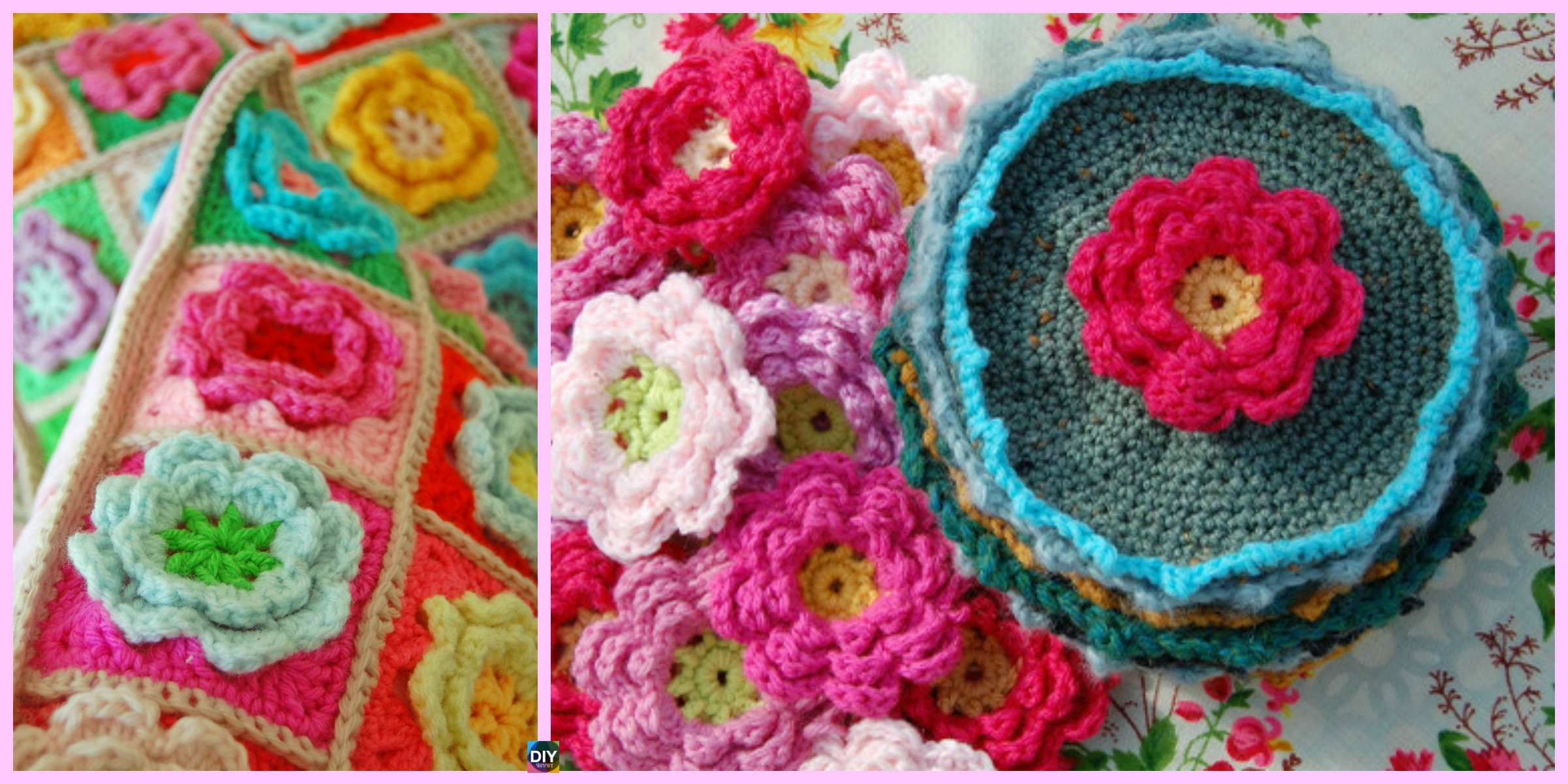 Crochet Rose Flower Squares – Free Pattern
