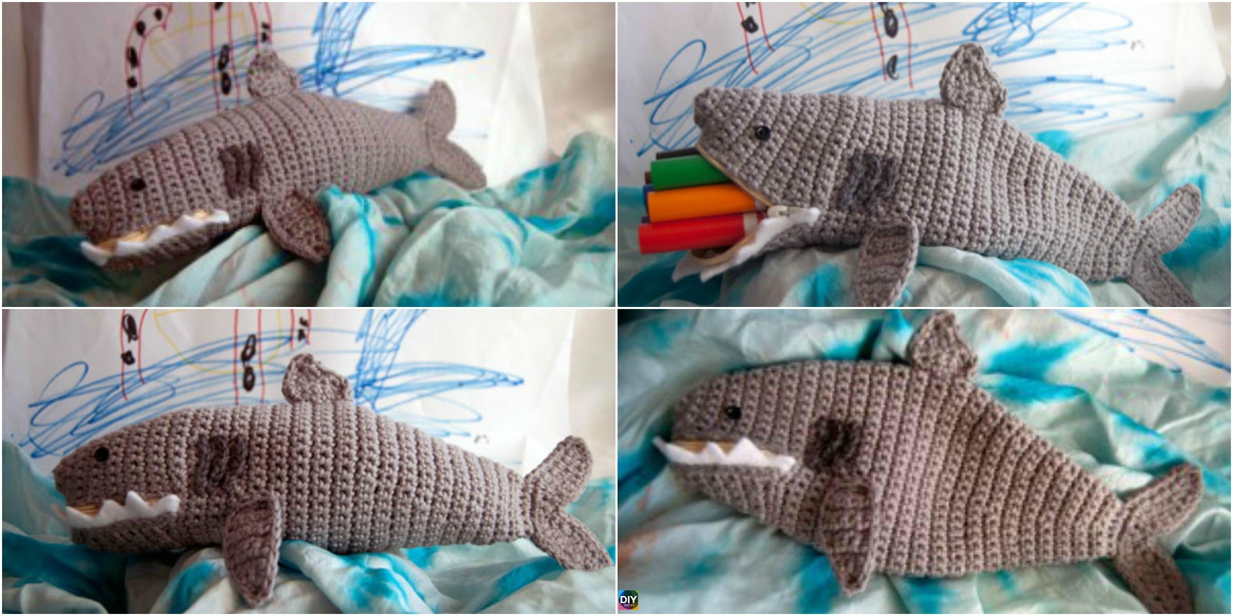 Crochet Shark Time Pouch – Free Pattern