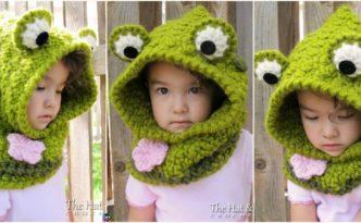 diy4ever-Cute Crochet Frog Hooded Cowl Pattern