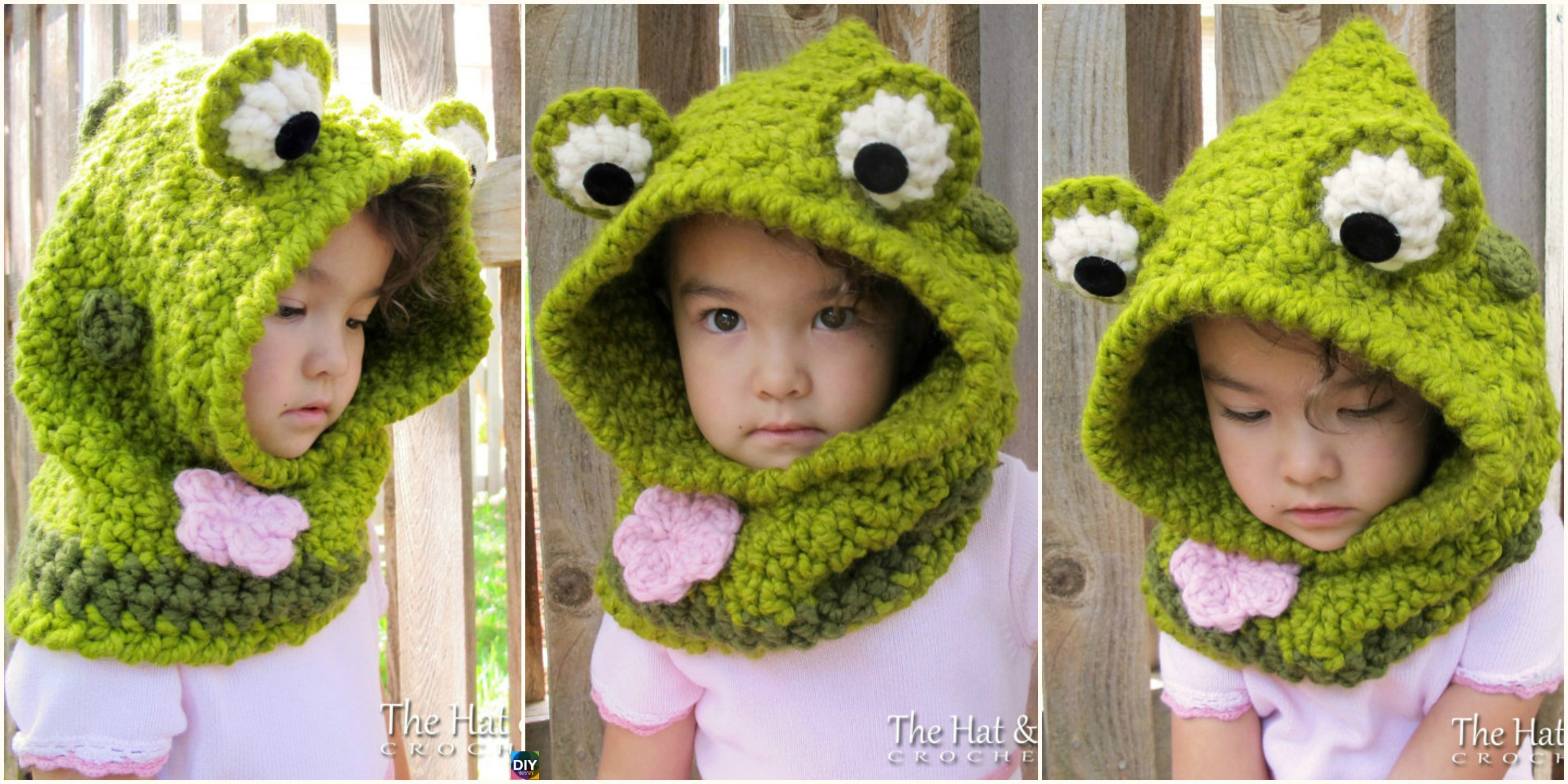 Cute Crochet Frog Hooded Cowl Pattern