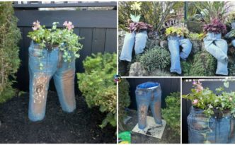diy4ever-DIY Denim Plant Garden Tutorial