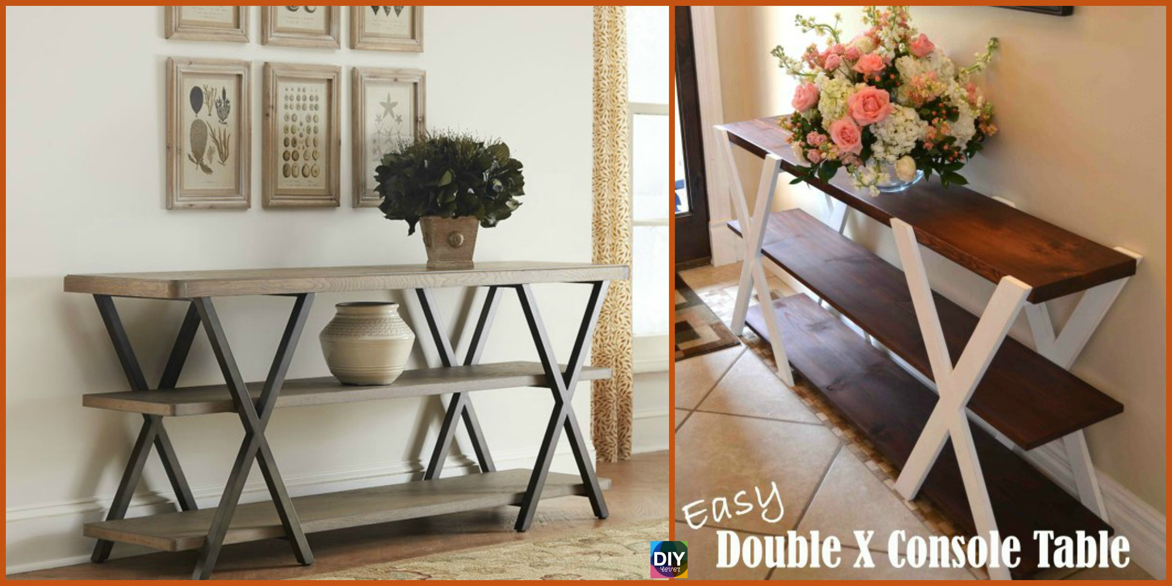 DIY Double X Console Table – Free Plan