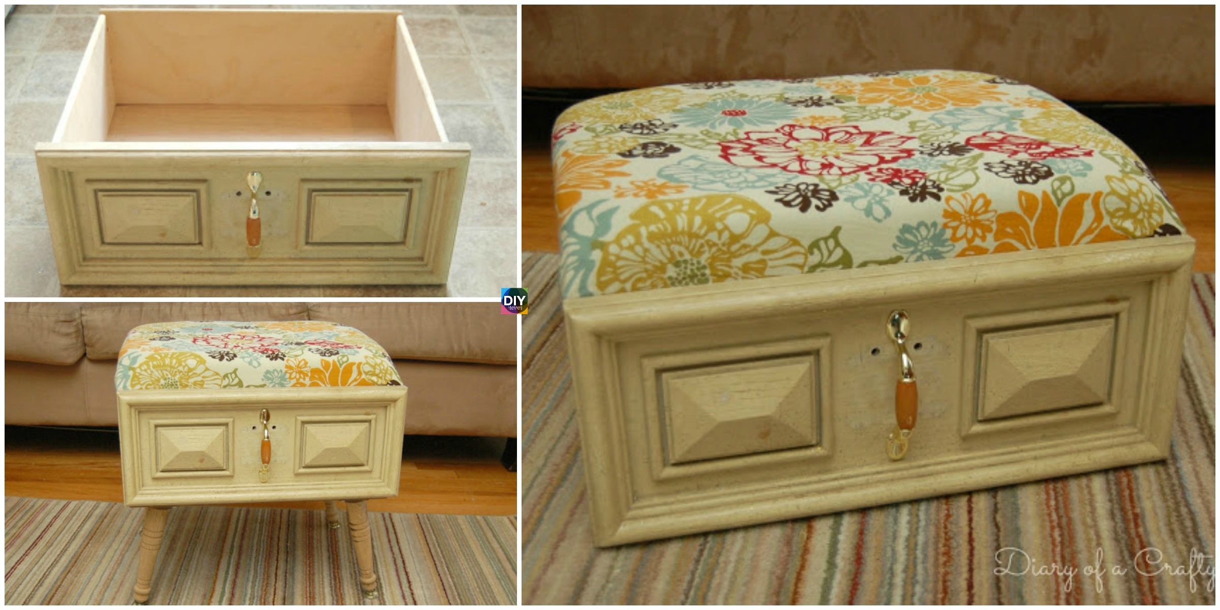 DIY Old Drawer Ottoman Step by Step Tutoiral