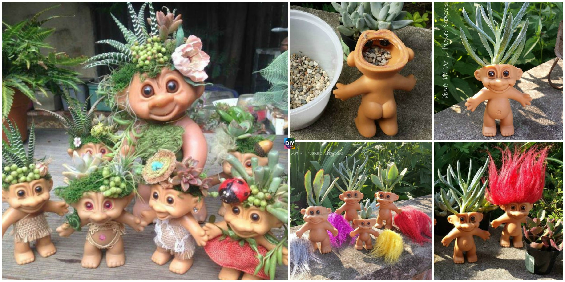 DIY Troll Doll Planters Tutorial & Video