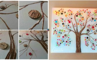 diy4ever- DIY Vibrant Button Tree Wall Art on Canvas