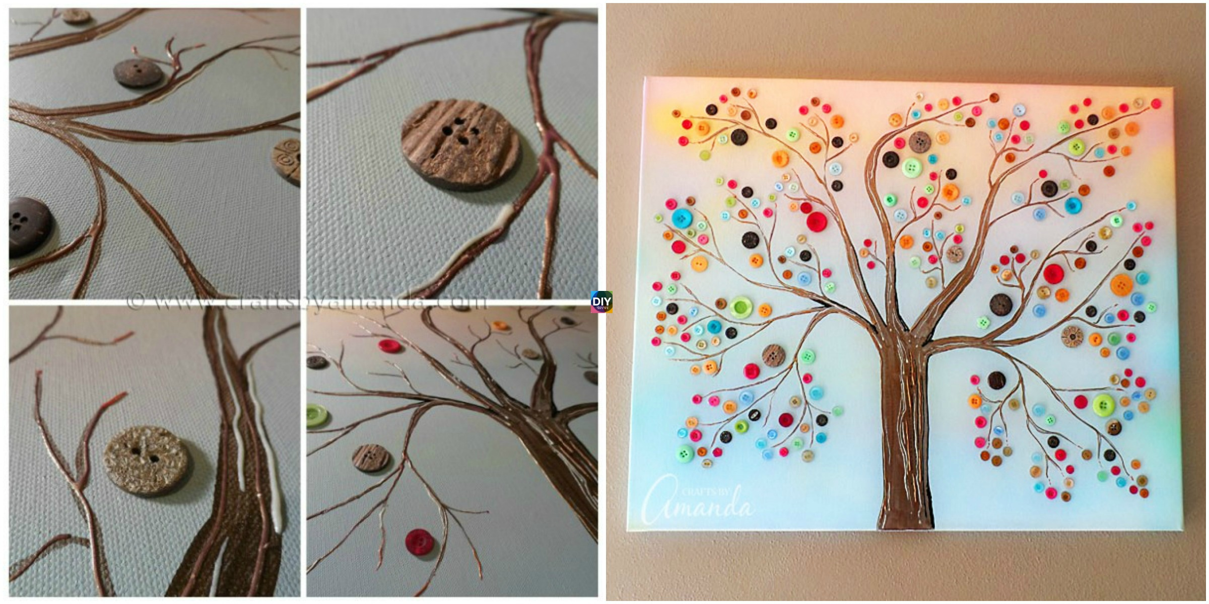 DIY Vibrant Button Tree Wall Art on Canvas