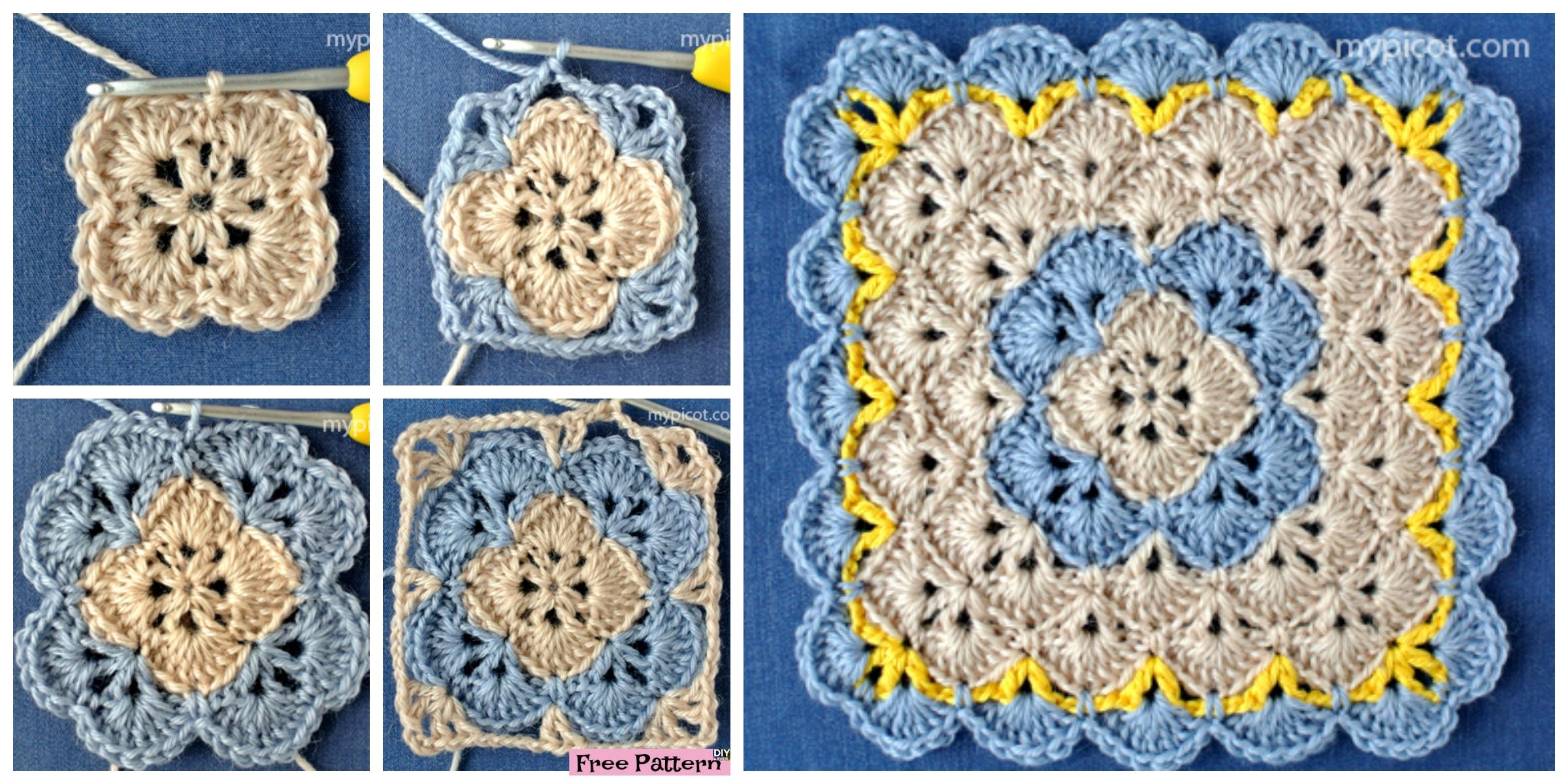 Crochet Shell Square Blanket – Free Pattern