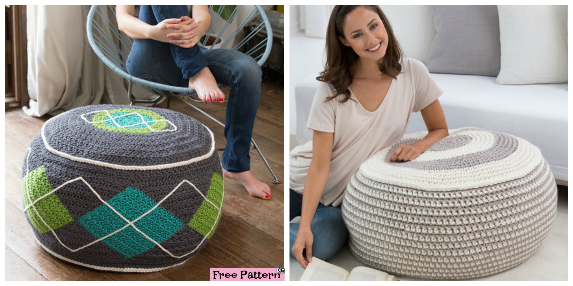 Stylish Crochet Ottoman – Free Pattern