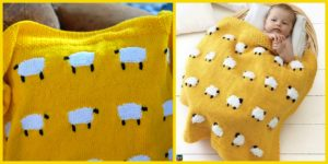 diy4ever-Adorable Knitted Sheep Baby Blanket Pattern