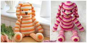 diy4ever- Adorable Striped Knit Bunny - Free Pattern